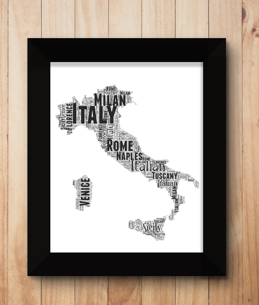 Travel Personalised Italy Word Art Map