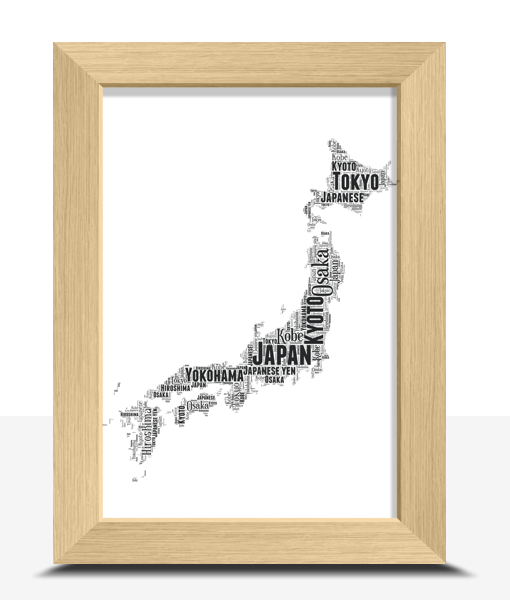 Oak Frame Project Gallery In 2019: Personalised Japan Word Art Map