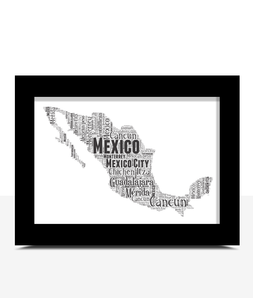 Personalised Mexico Word Art Map