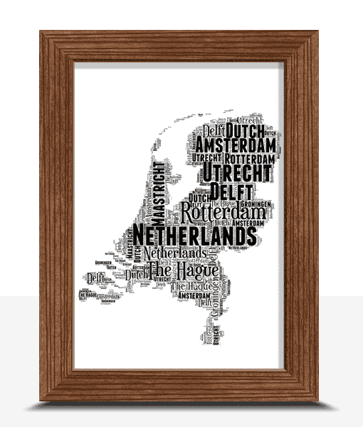 Personalised Netherlands Word Art Map