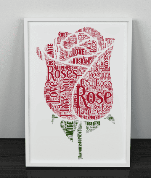 Personalised Rose Word Art Print