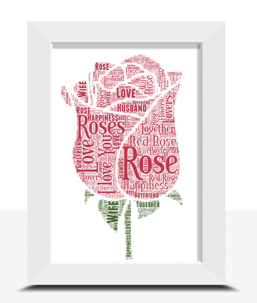 Engagement Gifts Personalised Rose Word Art Print