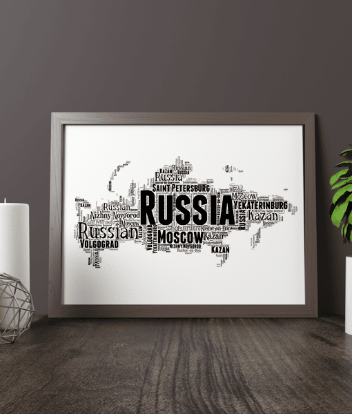 Travel Personalised Russia Word Art Map