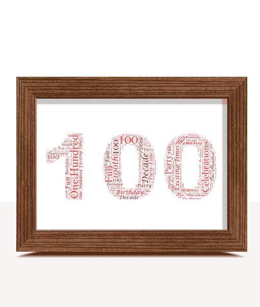100th Birthday – Anniversary Word Art Gift