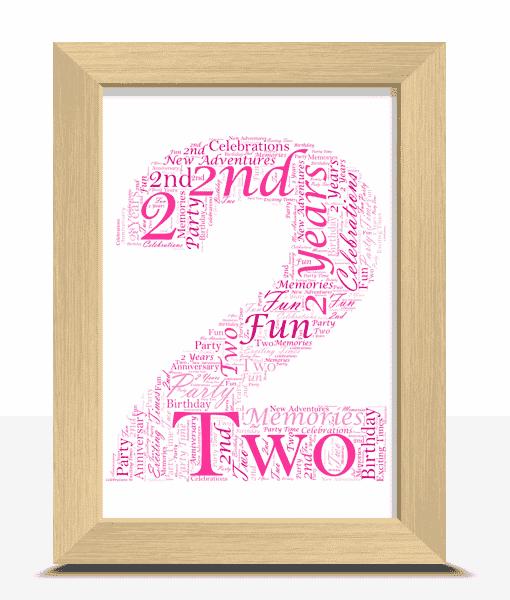 2nd Birthday – Anniversary Word Art Gift