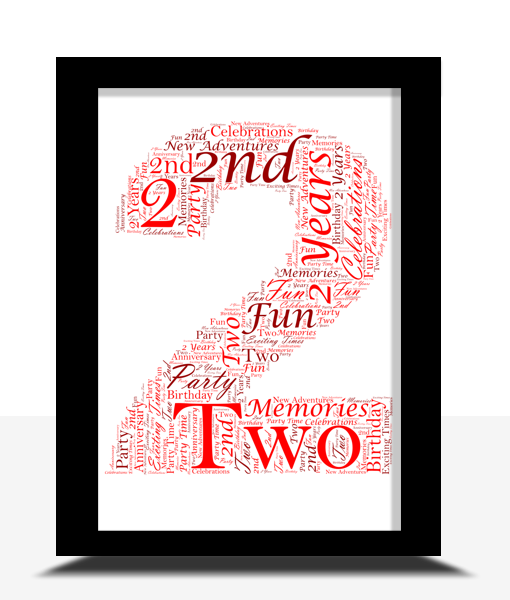 Anniversary Gifts 2nd Birthday – Anniversary Word Art Gift