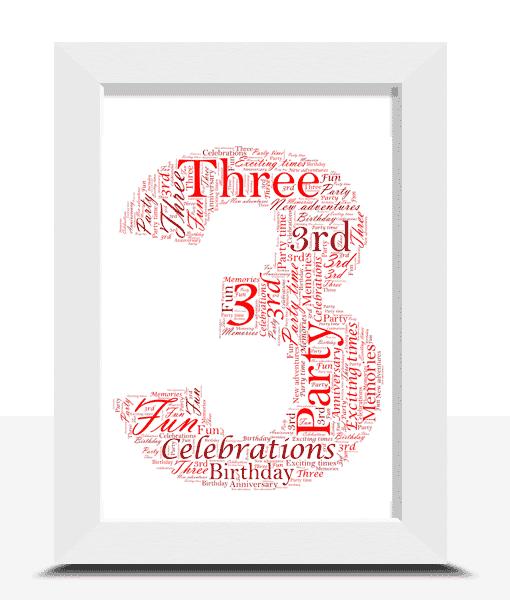 Anniversary Gifts 3rd Birthday – Anniversary Word Art Gift