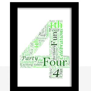 4th Birthday – Anniversary Word Art Gift