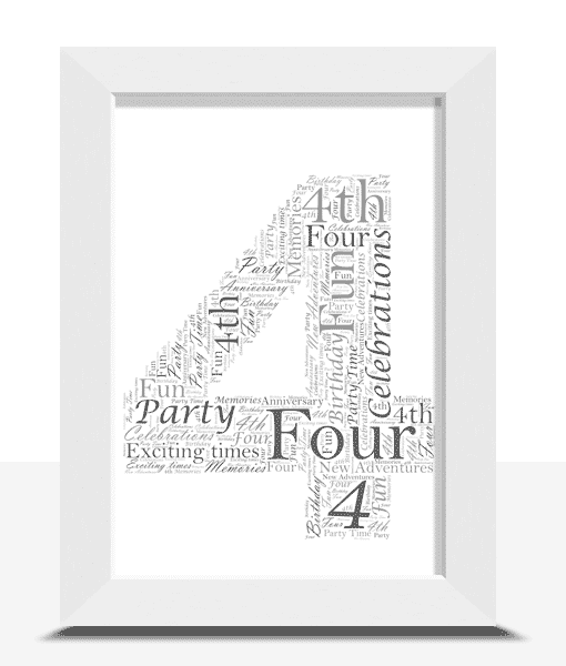 4th Birthday – Anniversary Word Art Gift