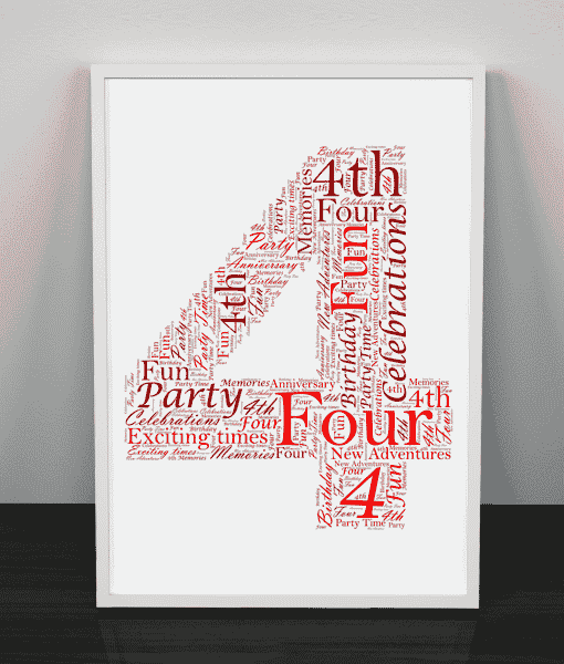 Anniversary Gifts 4th Birthday – Anniversary Word Art Gift