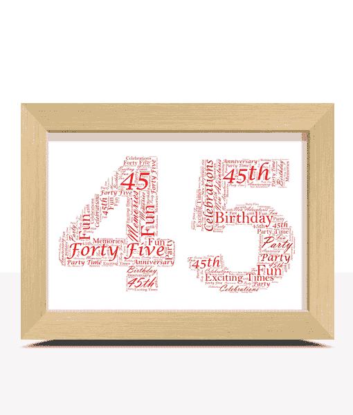 Anniversary Gifts 45th Birthday – Sapphire Anniversary Word Art Gift