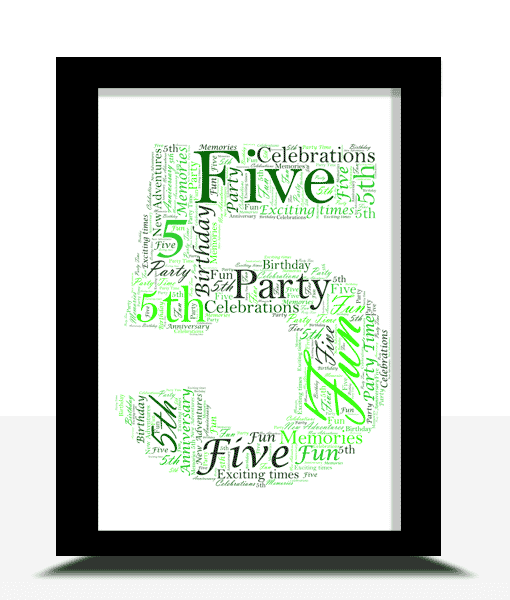 Anniversary Gifts 5th Birthday – Anniversary Word Art Gift