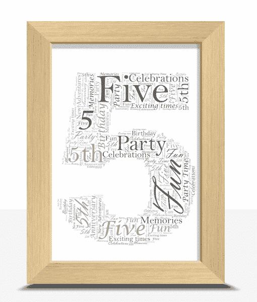 Anniversary Gifts 5th Birthday – Anniversary Word Art Gift