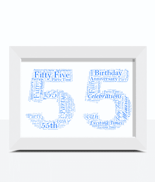 55th Birthday – Anniversary Word Art Gift