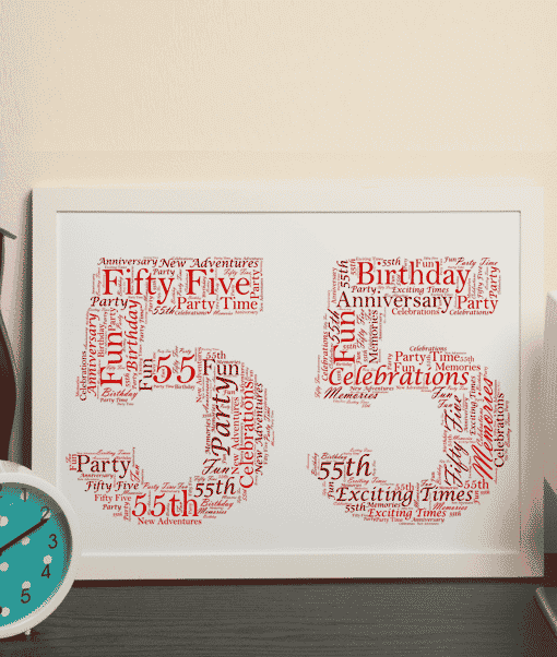 Anniversary Gifts 55th Birthday – Anniversary Word Art Gift