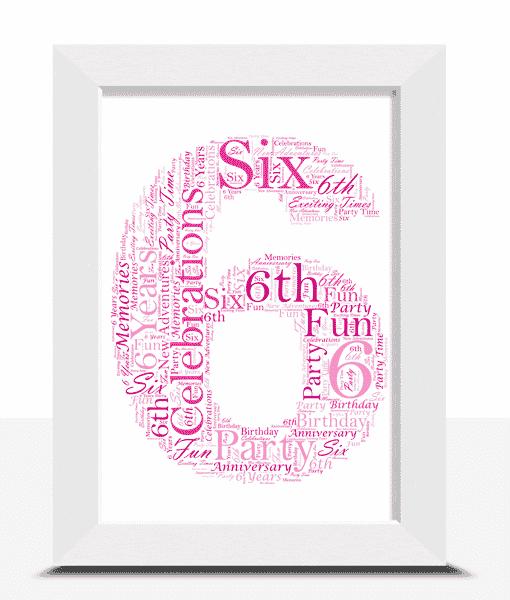 6th Birthday – Anniversary Word Art Gift
