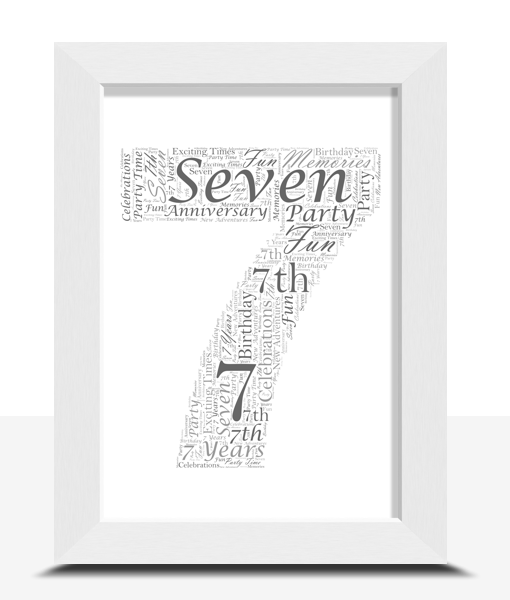Anniversary Gifts 7th Birthday – Anniversary Word Art Gift