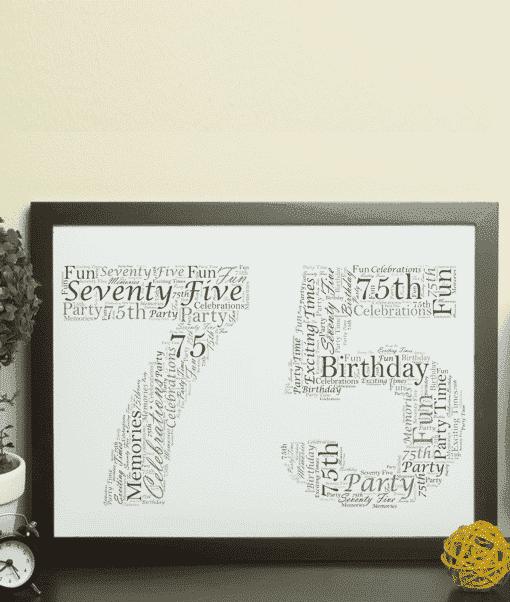 75th Birthday – Anniversary Word Art Gift Anniversary Gifts