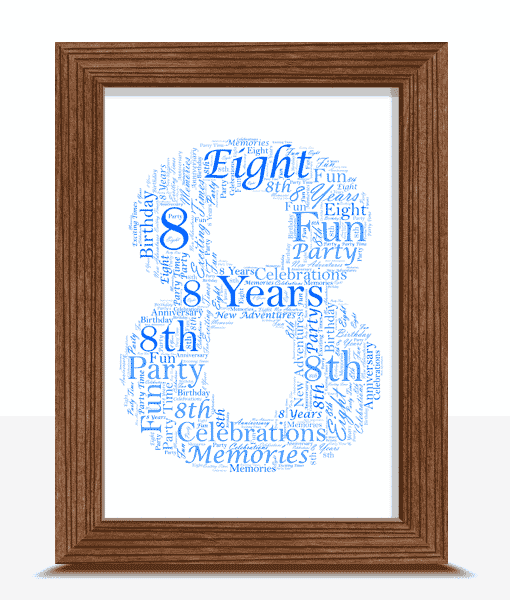 8th Birthday – Anniversary Word Art Gift