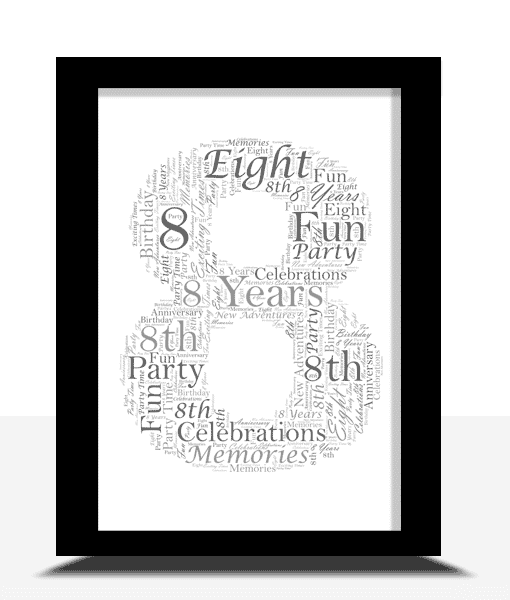 Anniversary Gifts 8th Birthday – Anniversary Word Art Gift