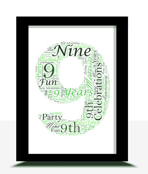 Anniversary Gifts 9th Birthday – Anniversary Word Art Gift