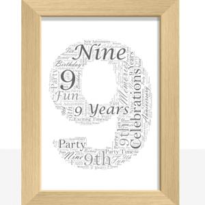 9th Birthday – Anniversary Word Art Gift Anniversary Gifts