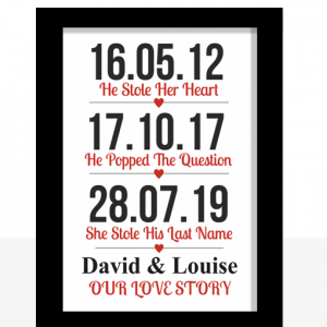 Our Love Story Wedding – Anniversary Print
