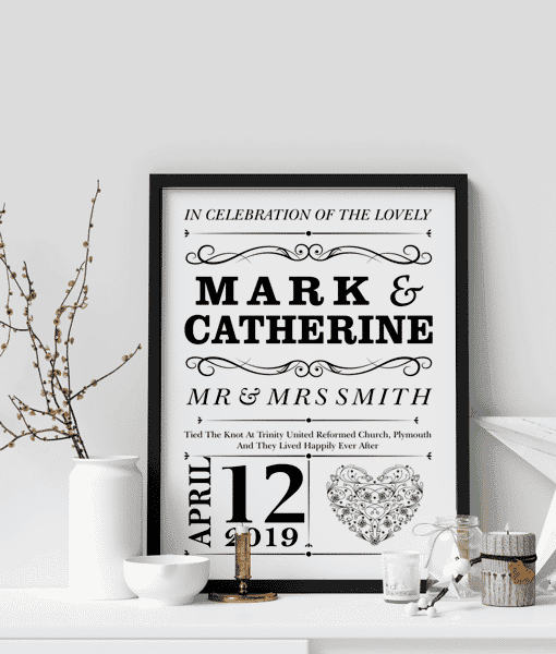 Gifts For Couples Personalised Wedding Couple Print Gift