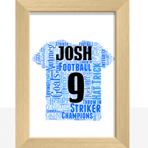 Fathers Day Gifts Personalised Football Shirt Word Art Print