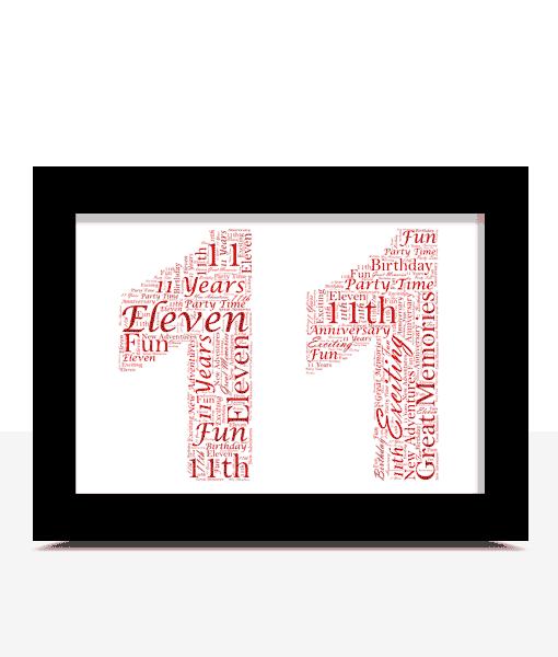 Anniversary Gifts 11th Birthday – Anniversary Word Art Gift