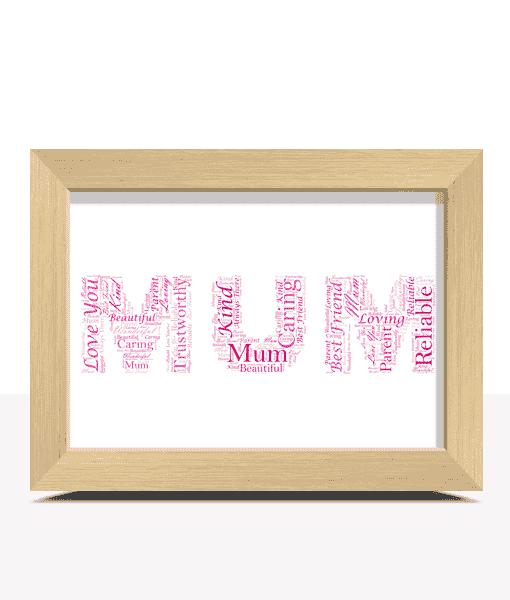 Oak Frame Project Gallery In 2019: Mum Word Art Pinks Light Oak Frame