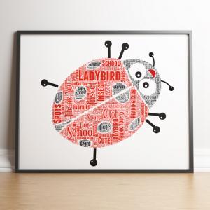 Animal Prints Personalised Ladybird Word Art Print