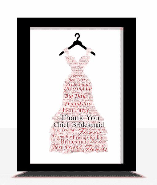 Bridesmaid Dress Word Art Gift Thank You Gifts