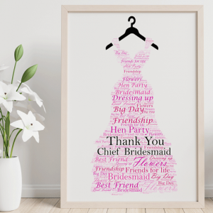 Thank You Gifts Bridesmaid Dress Word Art Gift