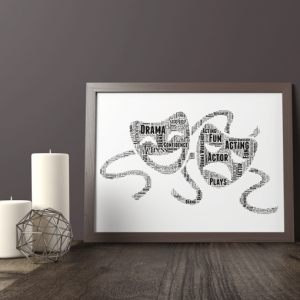 Personalised Drama Theatre Mask Word Art Gift