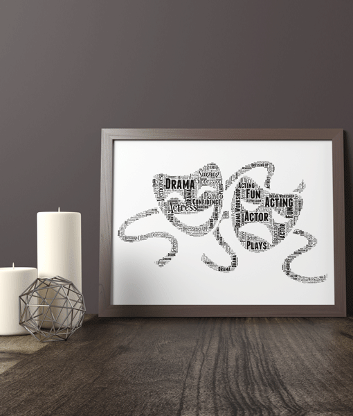 Personalised Drama Theatre Mask Word Art Print