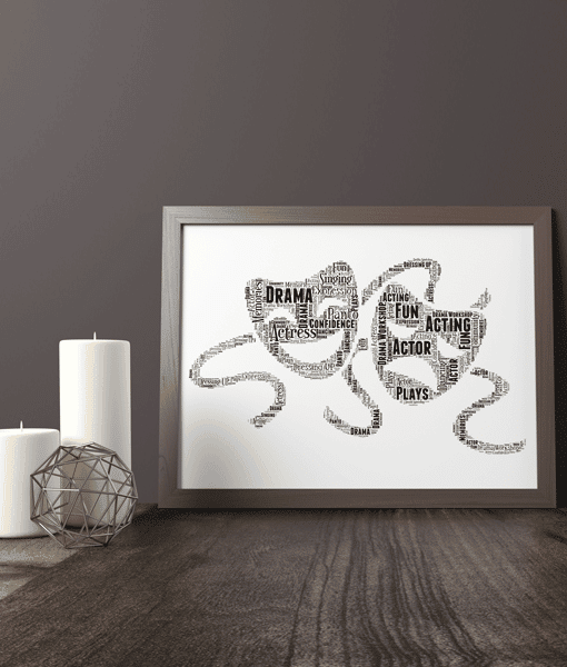 [tag] Personalised Drama Theatre Mask Word Art Print