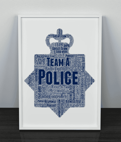 Personalised Police Crest Word Art Print