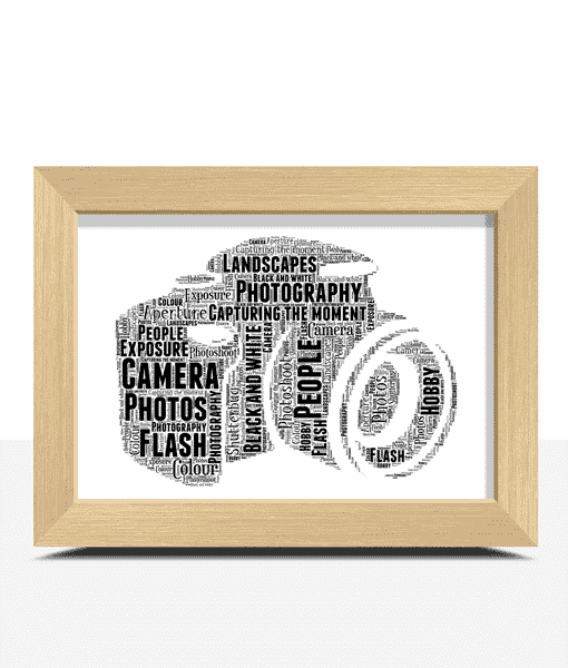 Camera Word Art – Personalised Photographer Gift