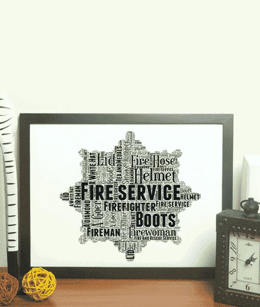 Fire Service Crest Word Art Print