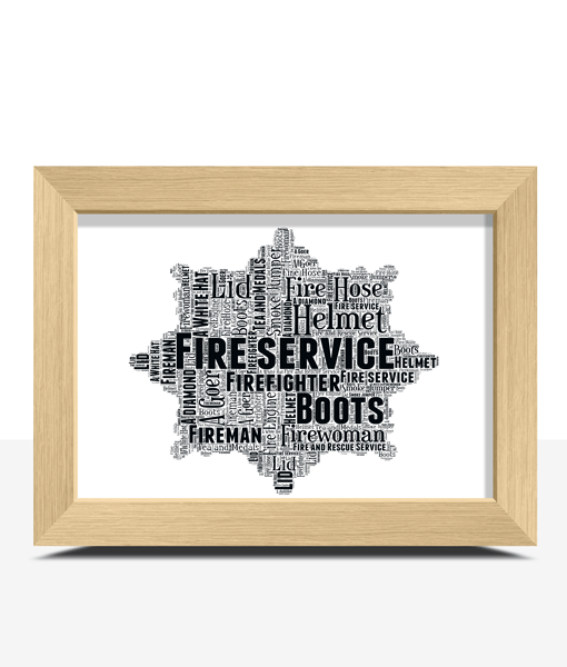 Oak Frame Project Gallery In 2019: Fire-service-word-art-print-oak-frame
