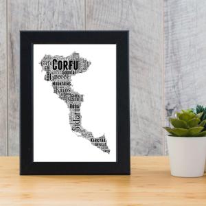 Personalised Corfu Word Art Map Travel