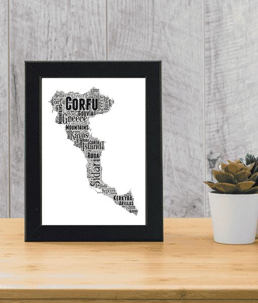 Travel Personalised Corfu Word Art Map