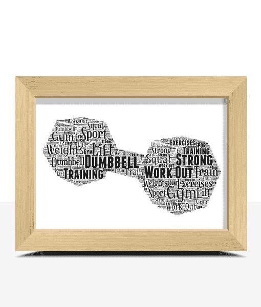 Sport Dumbbell Word Art Print