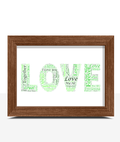 Anniversary Gifts Personalised LOVE Word Art