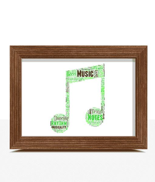 Music Personalised Music Note Word Art