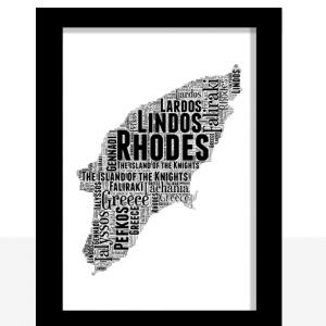 Personalised Rhodes Word Art Map Travel