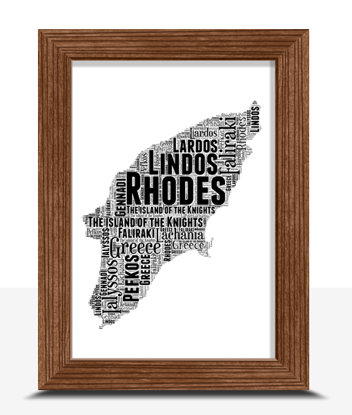 Travel Personalised Rhodes Word Art Map