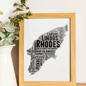 Personalised Rhodes Word Art Map