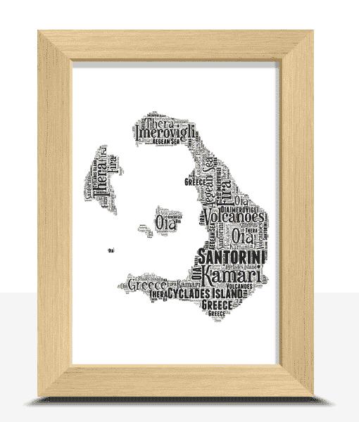 Travel Personalised Santorini Word Art Map